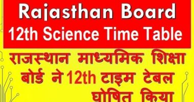 RBSE 12th Science Time Table 2019 | Rajasthan Board 12th Date Sheet 2019