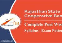 Rajasthan Cooperative Bank Syllabus 2019-2020