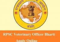RPSC Veterinary Officer Recruitment 2019-2020
