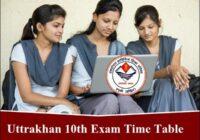 Uttarakhand Board 10th Time Table 2020