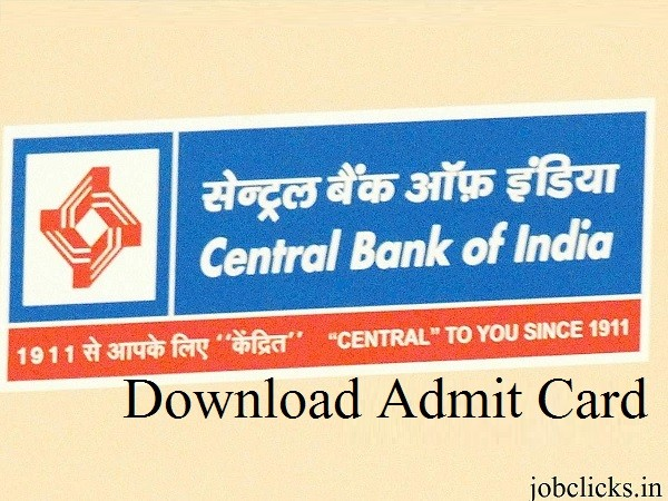 Central Bank of India Admit card 2020