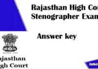 Rajasthan High Court Stenographer Answer Key 2021