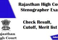 Rajasthan High Court Stenographer Result 2021 | Check Steno Exam Cutoff, Merit list