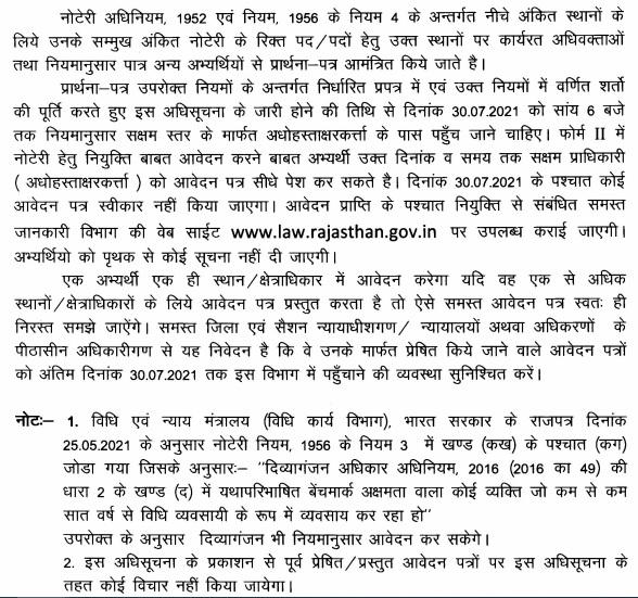 Rajasthan Notary Public Bharti 2021