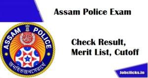 Assam Police SI Result 2021