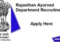Rajasthan Ayurved Department Recruitment 2020-21