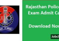 Rajasthan Police SI Admit Card 2021