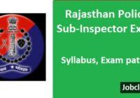 Rajasthan Police SI Syllabus 2021