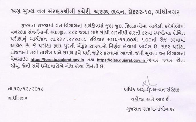 Gujarat Forest Guard Exam Latest News