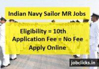 Indian Navy Sailor MR Recruitment 2021